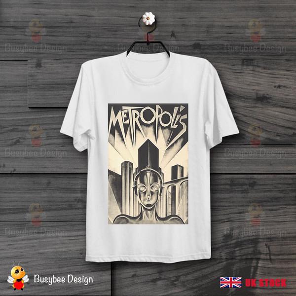 Метрополис футболка классический научно-фантастический фильм плакат прохладный старинные унисекс футболка смешно 100% хлопок футболка ретро старинные классические футболки