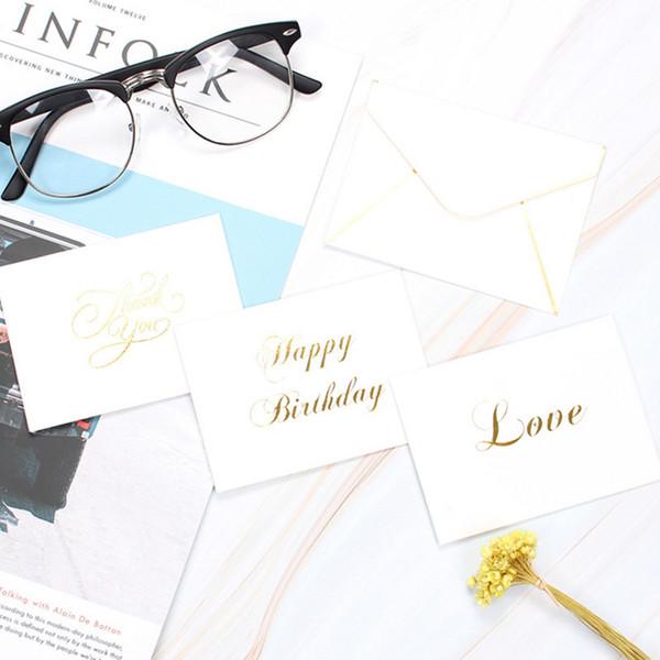 5 Unids / lote Chapado en oro Escritura a mano Tarjeta de felicitación de fiesta simple blanca / Gracias Dejar un mensaje Tarjetas de papel Boda Amor / Hogar