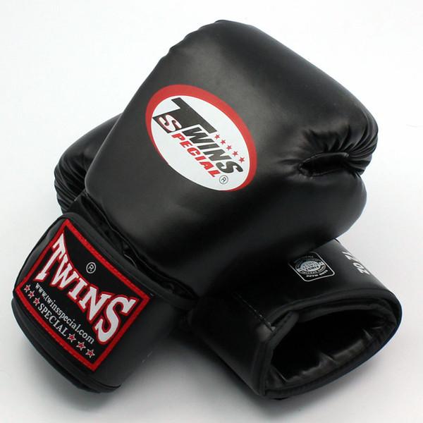top popular 8 10 12 14 oz Twins Gloves Kick Boxing Gloves Leather PU Sanda Sandbag Training Black Boxing Gloves Men Women Guantes Muay Thai 2021