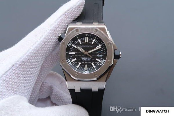 A15710V8 relógio de luxo de aço de precisão à prova d 'água 3120 movimento mecânico de mergulho relógio de silicone faixa de calendário função mens relógios