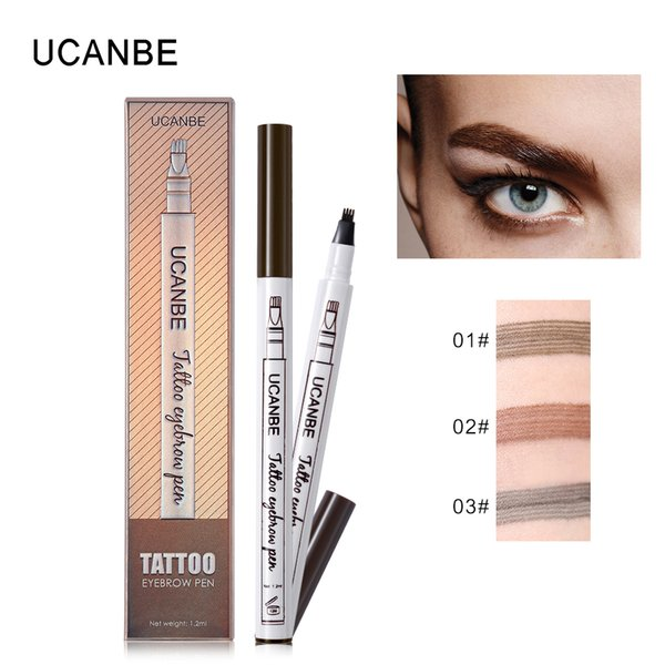 Wholesale DHL 3 Colors Fine Sketch Liquid Eyebrow Pen Long Lasting Makeup Waterproof Smudge-proof Eye Brow Pencil Tattoo Kit Durable Tattoo