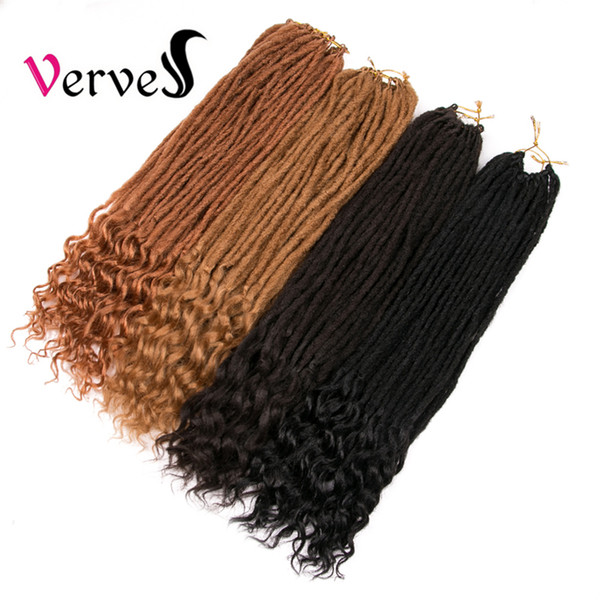 VERVES Dreadlocks Tığ örgü Saç Uzantıları 22 inç 5 adet Kanekalon Dreads locs sentetik Ombre Tığ Örgüler saf renk