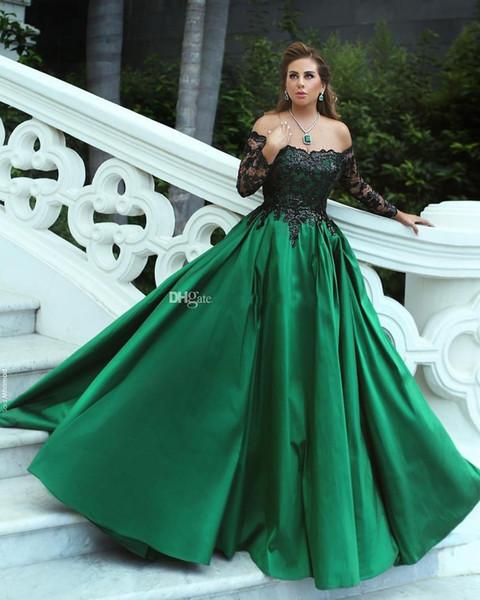 Compre Apliques Negros Verdes Vestido De Fiesta Vestidos De Noche Fuera Del Hombro Manga Larga Lentejuelas Encaje Satén Vestidos De Noche De Talla