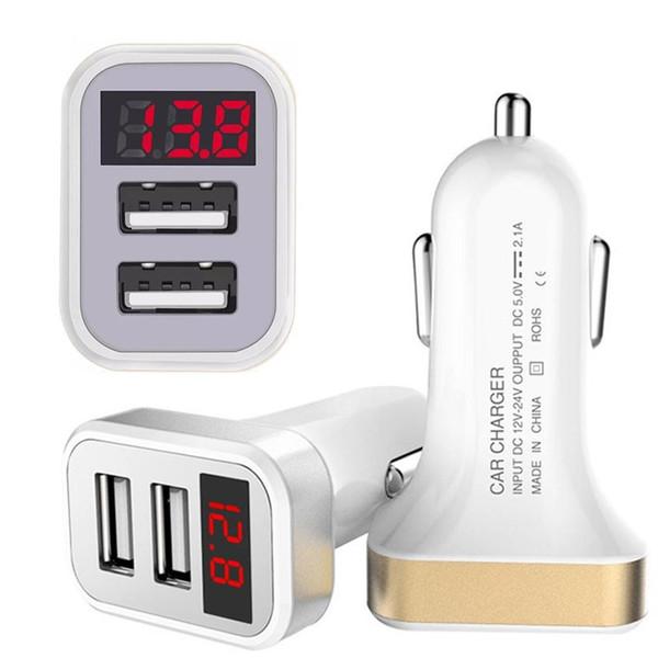 Numérique LED Affichage 2.1A Dual USB Chargeur allume-cigare auto Adaptateur pour iPhone téléphone Samsung Android pc htc gps