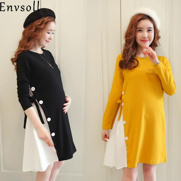 Envsoll New M-2xl vestiti di maternità autunno manica lunga cotone abito in gravidanza nero giallo vestiti di gravidanza per le donne incinte Y19051804