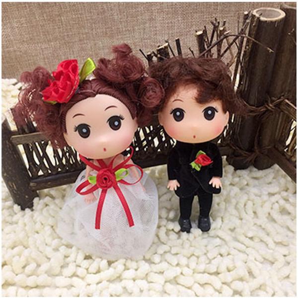 12cm Mini Ddung Ddgirl Dolls Boys Rabbit Cat Ears Big Eyes Girl Doll Dress Skirt Dolls Holder Bag Car Styling Toy Keyholder