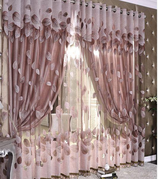 best selling Luxury Modern Leaves Designer Curtain Tulle Window Sheer Curtain for Living Room Bedroom Kitchen Window Screening Panel