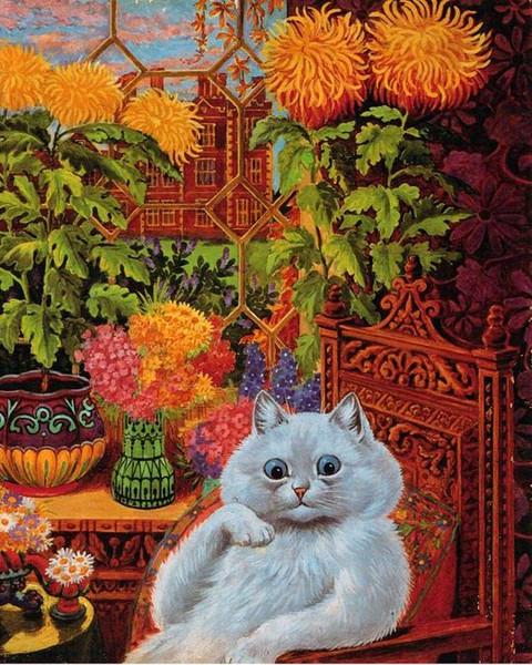 Louis Wain Psychedelic Flower Cat Pintado a mano HD Impreso Arte Pintura al óleo Lienzo de alta calidad Decoración de la pared del hogar Multi Tamaño A101