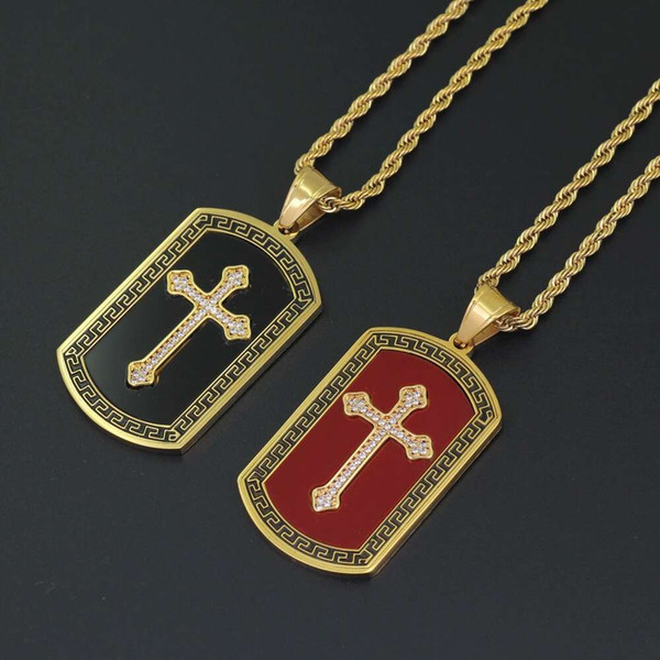 hip hop cross diamonds pendant necklaces for men crystal black red luxury necklace Stainless steel Cuban chains dog tag Religion jewelry