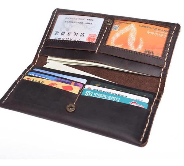 Carteira longa em couro, couro, telefone celular, carteira retro