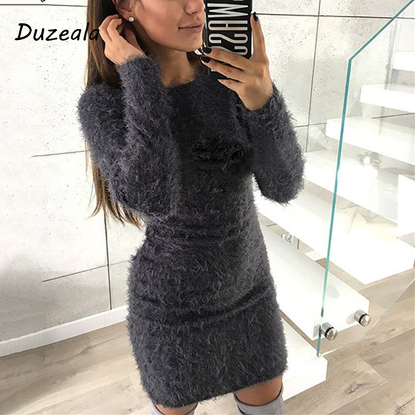 Fashion Winter Plush Sweater Dress Women Party Night Bodycon Christmas Black Clothing Sexy Mini Bandage Knitted Dress For Female Y19041001