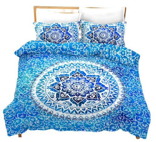 Bohemian Vintage Bed Sets,Summer Autumn Cotton Family High End Soft Duvet Cover Sets for Adults Comforter Cover Pillowcase with Zipper