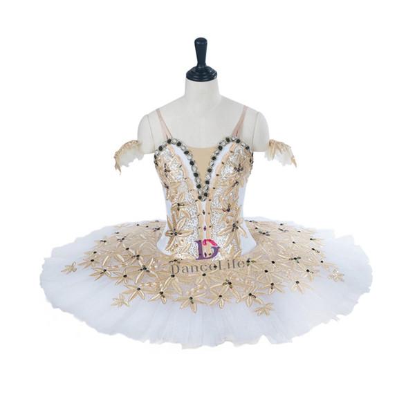 AP143 free shipping women white gold performance stage ballet tutu girls pancake professional ballet tutu stage costume for children