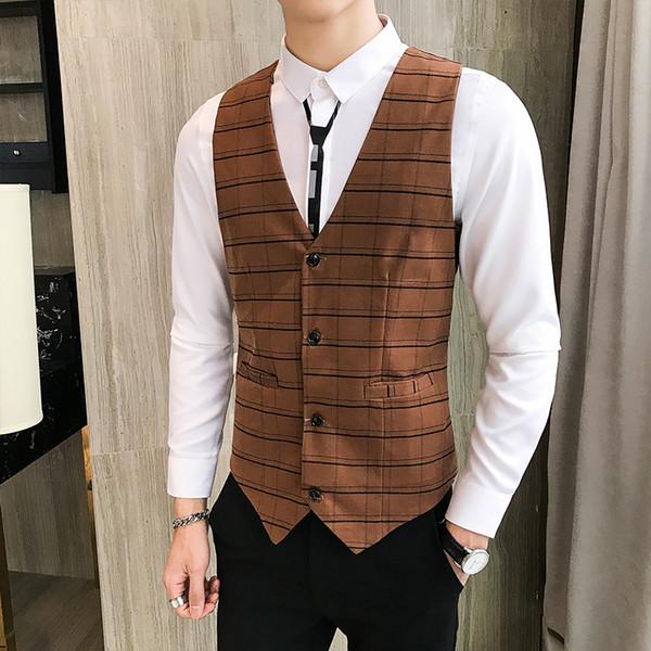 England Style Men Waistcoat Plaid Vintage Suit Vest Male Plus Size M-5XL weste Business Casual Party Dress Slim Fit gilet homme