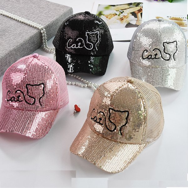 2018 Summer Hats For Children Cat Paillette Caps Baby Boys Girls Sun Hat Kids Chapeau Mesh Baseball Cap Headwear 1.5~3y C19041302