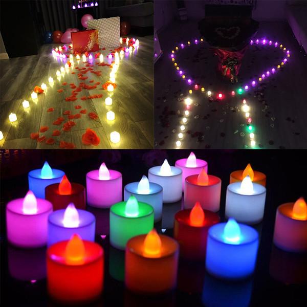Lámpara de vela LED creativa Luz simulación multicolor Luz de té sin llama Decoración de fiesta de cumpleaños de boda Velas de pastel