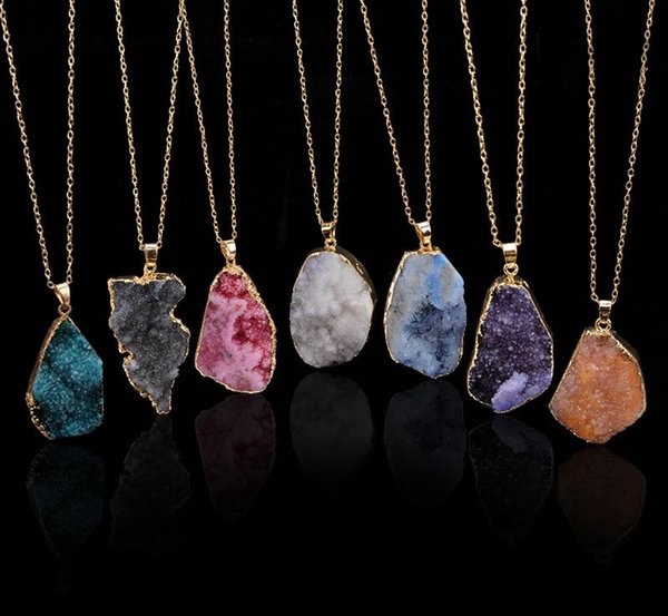 Unground Irregular Natural Stone Pendant necklace Crystal Quartz Drusy pendants Gold Chains for women Fashion Jewelry Gift K2344