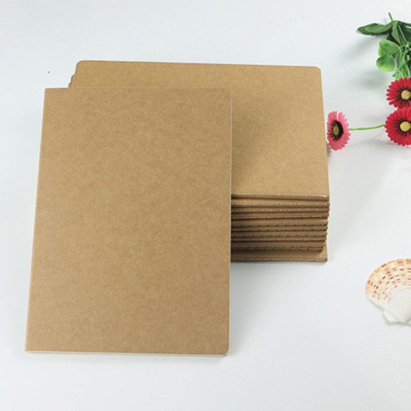 best selling Brown kraft cover stitching notepad school exercise soft daily notebook with line soft copybook vintage notepads for office and school