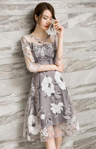 Весной и летом женская новая мода тонкий принт платье из органзы женщин с семью точками рукава вокруг шеи юбка талии