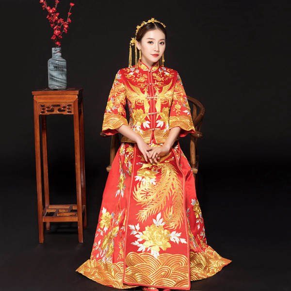 Red embroidery style formal dress royal phoenix wedding cheongsam costume bride vintage Chinese traditional Tang suit Qipao C18122701
