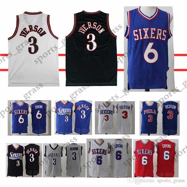 premium selection cbd33 139e0 2019 Julius 6 Erving Jersey Allen 3 Iverson Jerseys 100% Stitched Adult  Shirt Top T Shirt From Hulk_sports, $19.77 | DHgate.Com