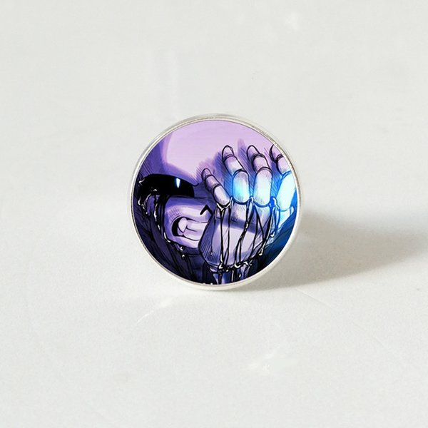 Undertale Game Gamer Gaming sliver color rings Ghost Video Game Glass Cabochon ring Art Gifts
