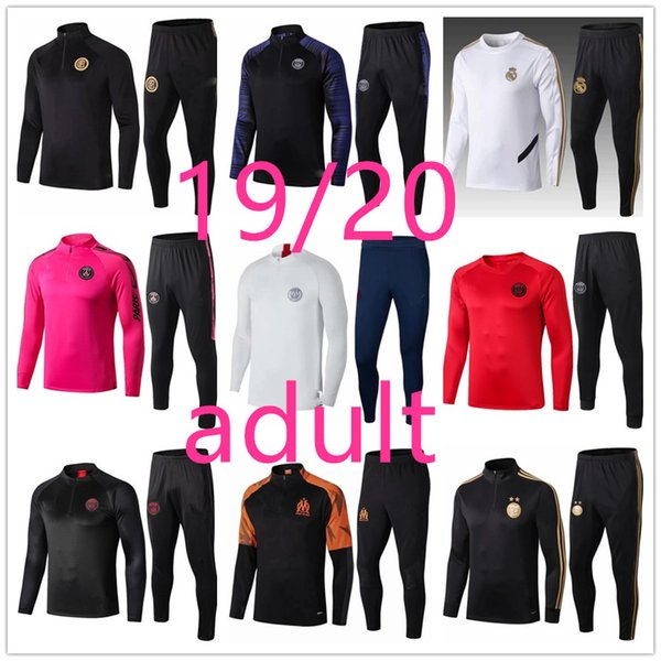 best selling 19 20 Men adult football training tracksuit Real madrid soccer training suit 2019 2020 survetement de foot chandal Football jogging
