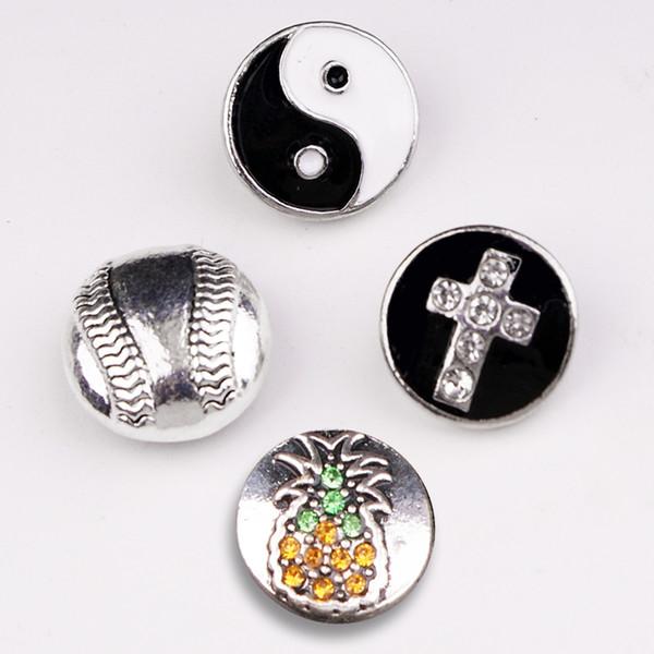 Cheap Charm Bracelets NEW Baseball cross yin yang 12mm metal snap button MS543
