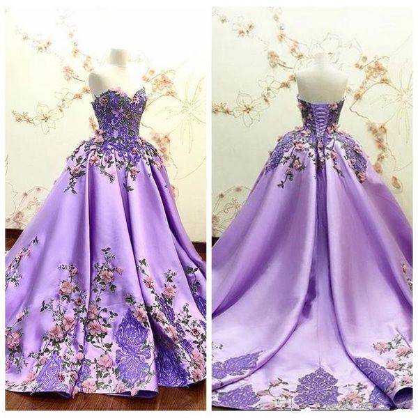 Красивые Милая 3D Цветы Украшенные Платья Выпускного Вечера Вышивка Атласные Кружева Аппликации Бинты Формальные Особые Случаи Вечерние Платья Партии