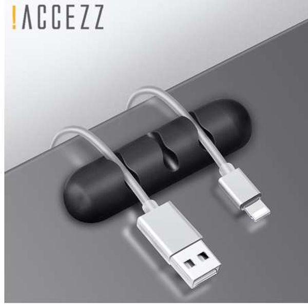 ! ACCEZZ Management Headphone Holder Winder Earphone Clip Carica avvolgicavo Cavo per desktop Cavo di fissaggio per mouse Cavo in silicone