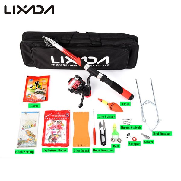 set Lixada 2.1m Telescopic Rod Reel Combo Kit Spinning Reel Rod Lure With Fishing Scissors Hook Lures Bag for Carp Pesca