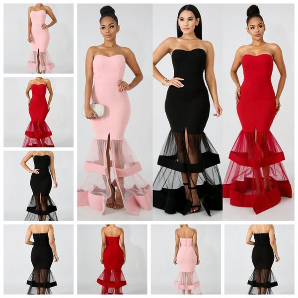 2cbd8a8376 2019 malha blusa vestido saia longa magra blusa sereia vestido de noite  vestido