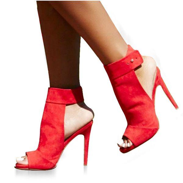 Button Ankle Strap Sandal Open Toe Women Stripper Ultra High Heel Pumps Red Wedding Shoes Size 35-40