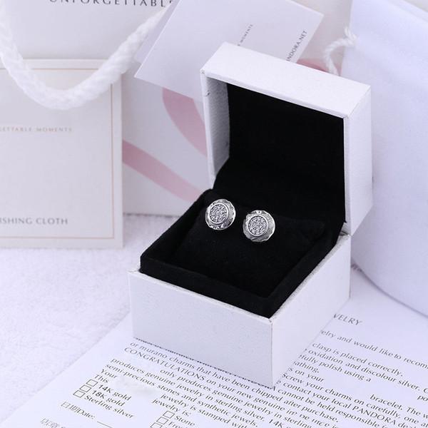 Klasik tasarım CZ Açacağı Disk Küpe Kadınlar için Logo Orijinal kutusu Pandora 925 Gümüş Saplama Küpe
