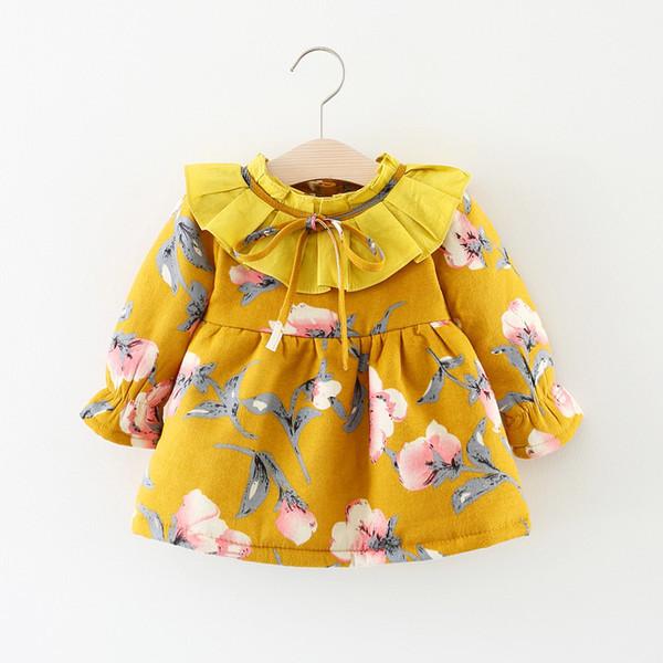 Iyi qulaity 2019 moda bebek bebek kız mont giyim yenidoğan pamuk polar kadife toddle çiçek ceketler için kabanlar kalınlaştırmak