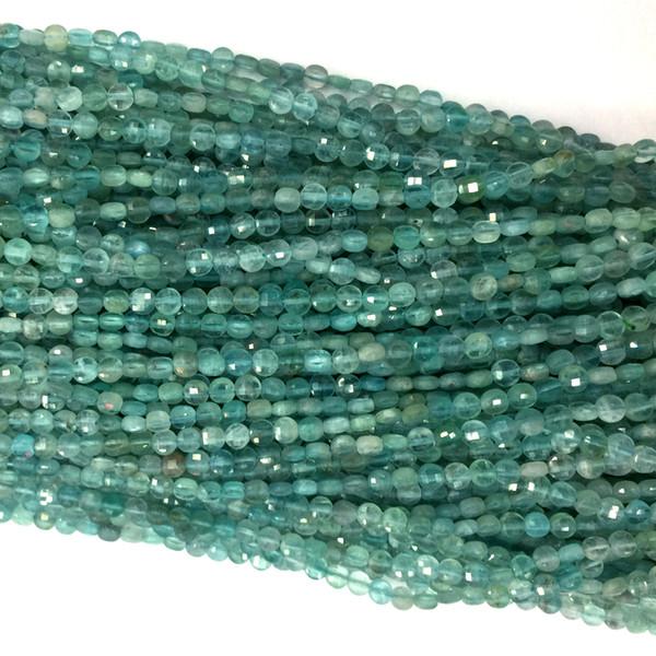 Azul genuino Natural apatita Fluorapatita corte de la mano talladas planas monedas pequeñas cuentas de collares o pulseras 4mm 5mm 6mm 06142