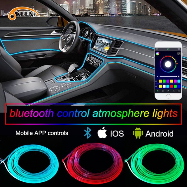 APP 6M Car decor 12V lighter LED Lamp Strip thread sticker decals tags accessory Flexible Neon Light EL Wire Rope Tube