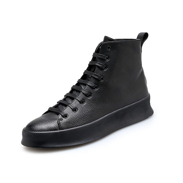 New Black Mens Casual Shoes Genuine Leather High Top Shoes men Lace Up Ankle Boots for Men Fashion Footwear White Shoes