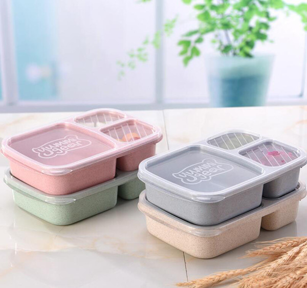 Пшеничная солома Bento Box коробка для завтрака 3 сетки Студент Портативные ящики для хранения продуктов питания Открытый кемпинг закуски фрукты Lunch Box