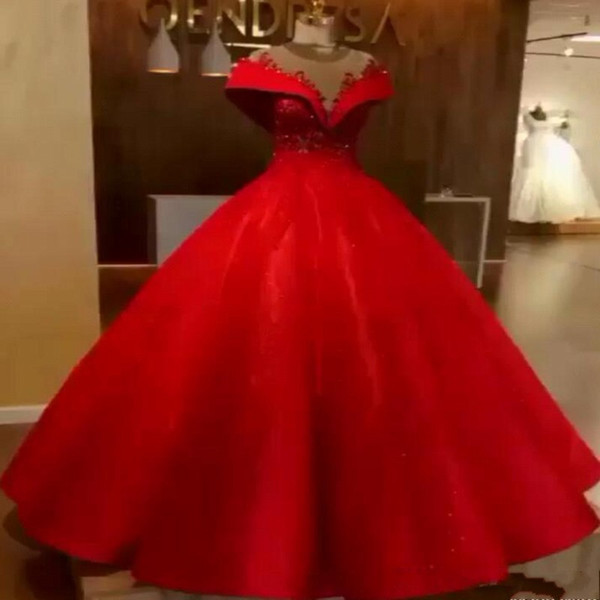 Red Ball Gown Evening Gowns 2019 New Elegant Off Shoulder Appliques Beads Corset Puffy Long Formal Prom Dress