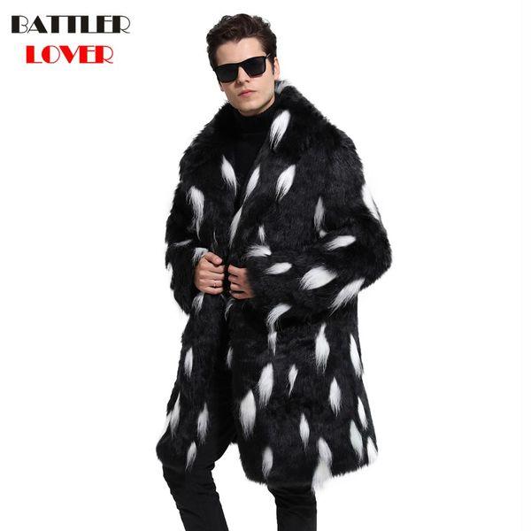 2018 Mens Fur Coat Winter Warm Outwear Coats Faux Fur Men Punk Parkas Jackets Hombre Leather Overcoat Genuine Brand Clothing