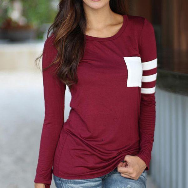 d0516a3cb2 nueva Camiseta para mujer Camiseta de manga larga O cuello Sólido para mujer  Top Sexy Otoño