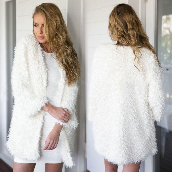 New Womens Fluffy Shaggy Faux Fur Cape Coat Jacket Winter Outwear Cardigan Tops