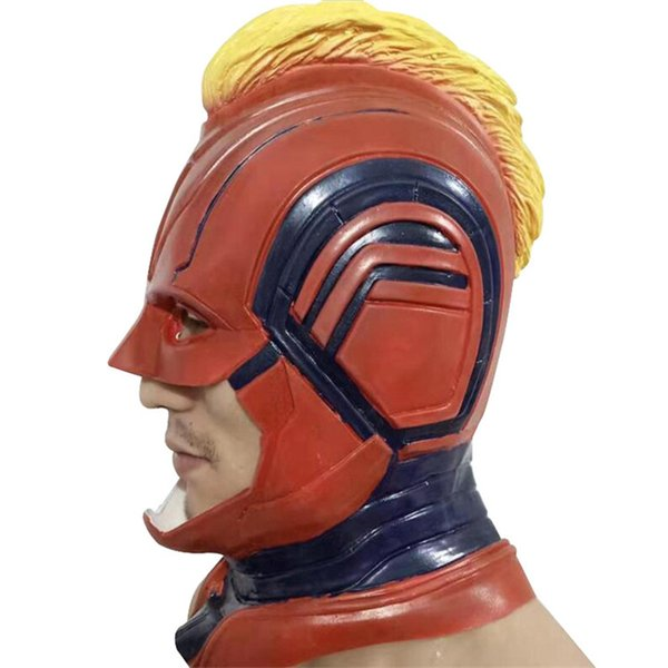 Captain Marvel Helmet Cosplay Mask Carol Danvers Superhero Halloween Masks Costume Party Props