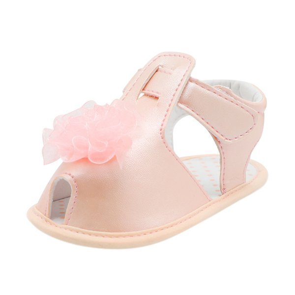 LONSANT Infant Baby Girls Crib Shoes Solid Lace Flower Summer shoes Hook & Loop baby kids Soft Sole Anti-slip Single