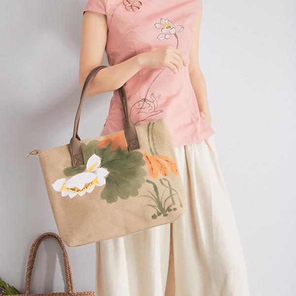 New Pattern Cotton Hand Lotus Ma'am Literature Fan Da Bao Flax Scenery Area Handbag Single Shoulder Package