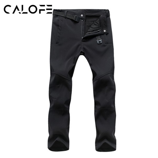 CALOFE Winter Men Ski Pants Thick Windproof Waterproof Warm Fleece Softshell Pants Fishing Camping Hiking Skiing Trousers