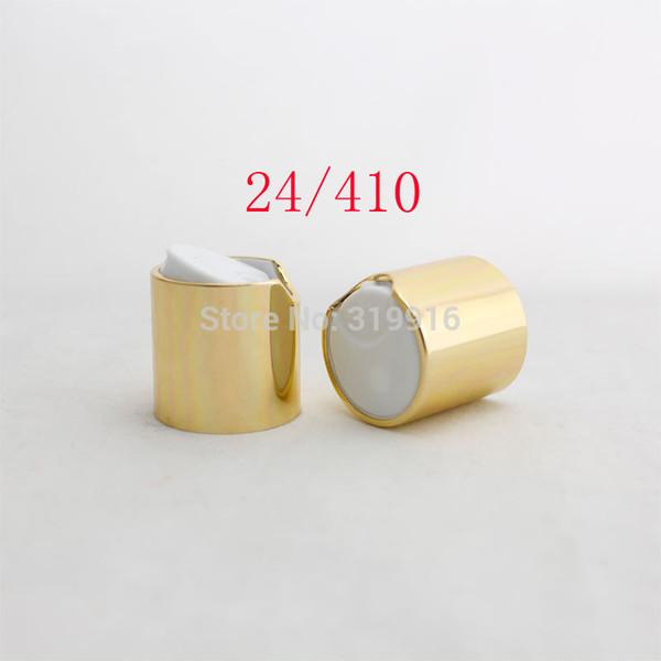 High quality Gold disc top caps with aluminum collar 24/410, aluminum shampoo cap,plastic water bottle cap push pull