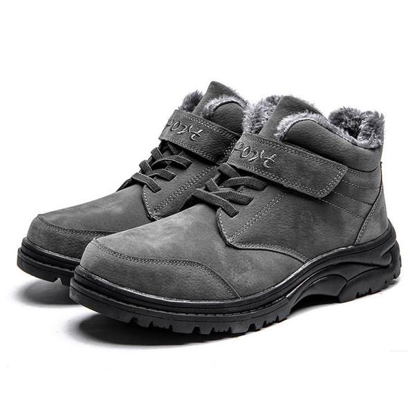 2019 Leder-Knöchel-Schnee-Männer Stiefel Schuhe mit Pelz Plüsch Herbst-Winter-warme Male beiläufige Schuh-Turnschuh-Schuhe