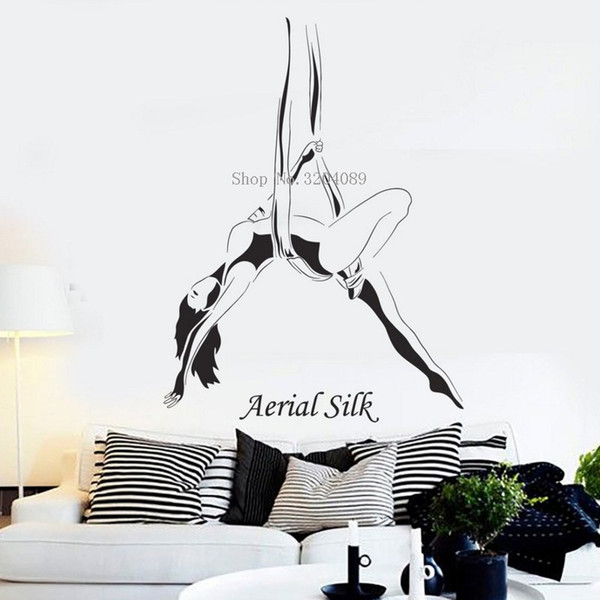 Beautiful Vinyl Wall Decals Home Decoration Living Room Bedroom Aerial Silk  Girl Woman Acrobatics Stickers Art Murals Gift Wall Quotes Decals Wall ...